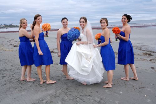 Blog #249 - Blue Bride's Maid Dresses with Orange Flowers